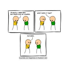 Cyanide and happiness ❤ liked on Polyvore featuring funny, quotes, pictures, other, funny things, phrase, saying and text