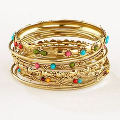 Indian bangles - $7 They come in silver and turquoise too..lots of fun jewelry at World Market