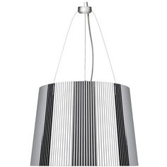 Kartell G? Suspension Lamp - Chrome Plated ($310) ❤ liked on Polyvore featuring home, lighting, ceiling lights, silver, chrome chandelier, energy star lighting, colored chandelier, pleated lampshade and rose light