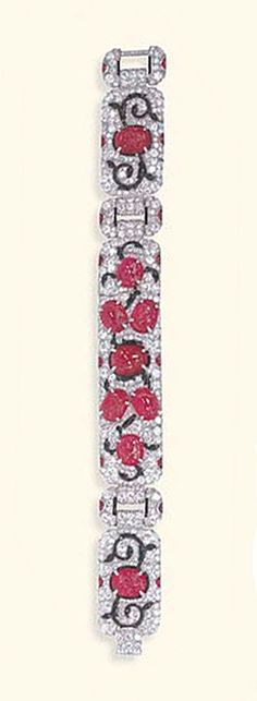 A RARE ART DECO RUBY, DIAMOND AND ENAMEL BRACELET, BY CARTIER   Of flexible design, composed of three single and old European-cut diamond panels, each set with carved cabochon rubies, extending undulating black enamel foliate motifs, trimmed by buff-top calibré-cut ruby accents, joined by single and old European-cut diamond rectangular links of similar design, mounted in platinum, circa 1930, 7½ ins., in a Cartier red leather case  Signed Cartier, no. 6888
