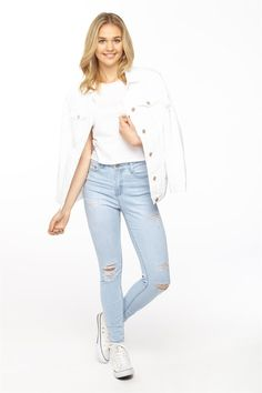 White ripped jeans supre