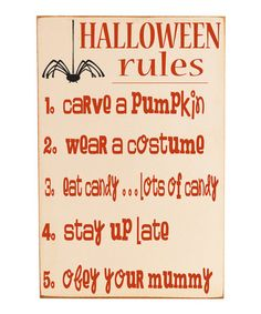 Halloween rules