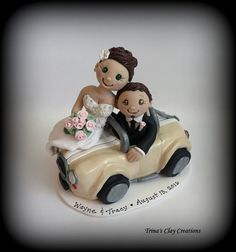 Wedding Cake Topper, Custom Cake Topper, Bride and Groom, Car, Polymer Clay, Wedding/Anniversary Keepsake