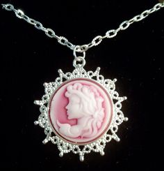 Vintage Style Cameo Pendant Necklace 24 Inch by PersnicketyPatty