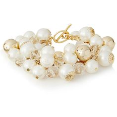085b365c08 The Limited Faux Pearl Cluster Bracelet Off White ( 30) ❤ liked on Polyvore  featuring