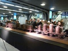 34 meter long train made entirely out of chocolate.  Brussels Chocolate Week, Belgium.