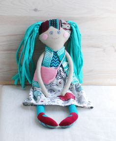 """Rag Doll,Handmade Stuffed Doll, Gift for Girls,Girl Shower Gift,Cloth Doll with Bag,Soft Doll, Doll in Knitted Vest, Retro Doll for Girl  ***FREE SHIPPING*** My friendly little handmade cloth doll is ready to meet a new friend! She is 18"""" tall (45cm) and has lots of lovely soft details that your child will adore! From her happy hand-embroidered expression to her soft pony tails and hippie dippy outfit with a cute crochet handbag this doll is 100% handmade and has a personality all of her…"""