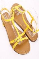MUSTARD PATENT FAUX LEATHER T-STRAP FLAT SANDALS