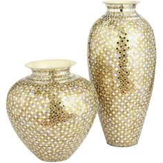 Gold Silver Mosaic Vases (485 CNY) ❤ liked on Polyvore featuring home, home decor, vases, decor, fillers, mirrored vases, metal home decor, handmade home decor, mosaic vase and handmade vase