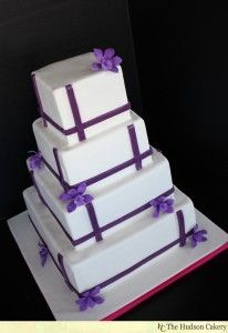 purple orchid square wedding cake