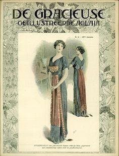 [De Gracieuse] Avondtoilet van geborduurde blauwe crêpe-de-Chine, gegarneerd met robijnkleurige zijden voile en goudborduursel (May 1911)