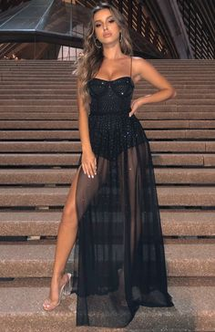 The Casino Royale Mesh Maxi Dress Black. Head online and shop this season's latest styles at White Fox. Mode Outfits, Night Outfits, Dress Outfits, Fashion Dresses, Prom Outfits, Casino Royale Dress, Casino Dress, Casino Outfit, Evening Dresses