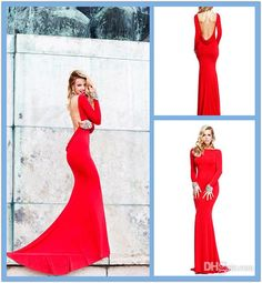 Wholesale Pageant Dresses - Buy Buy Red Pageant Dresses 2014 Tarik Ediz Elegant Dresses Beaded Spandex Long Sleeve Evening Gowns Super Sexy Open Back Mermaid Prom Dresses, $156.0 | DHgate