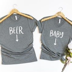 beer or baby funny pregnancy shirts set of two pregnancy announcement shirts pregnancy reveal shirts pregnant shirt pregnancy shirt does this shirt make me look pregna - The world's most private search engine Funny Pregnancy Shirts, Pregnancy Announcement Shirt, Pregnancy Humor, Pregnancy Info, Funny Shirts, Baby Announcement To Parents, Funny Pregnancy Announcements, Announce Pregnancy, Pregnancy Crafts