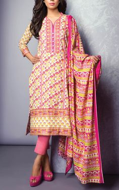 Buy Pink Printed Cotton Lawn Dress by Bonanza Summer Lawn Collection 2015.