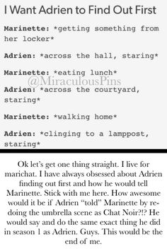 Come on guys, how amazing would that be??? I would die for this but in all honesty I just want Adrien to find out first. Miraculous Ladybug season 2!