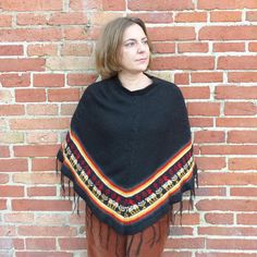 By MaletaVintageClothes in Etsy Tribal, boho, hippie, #vintage #70s #poncho size S-M. Measurements in the listing.  #vintagefashion #vintage #fashion