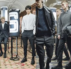 Dior Homme 2014-2015 Fall Autumn Winter Mens Lookbook Collection - Denim Jeans Outerwear Pea Trench Coat Knit Sweater Jumper Pants Trousers Multi-Panel Leather Blazer Motorcycle Biker Rider Boots Geometric Bomber Varsity Jacket Red Cargo Pockets Nautical Toggle Fasteners Button Down Shirt Hoodie Sportcoat - Paris France Style Fashion