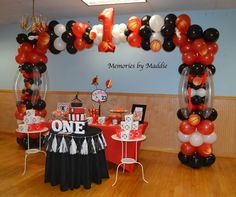 Check out this balloon decoration at a Michael Jordan basketball birthday party! See more party planning ideas at CatchMyParty.com!