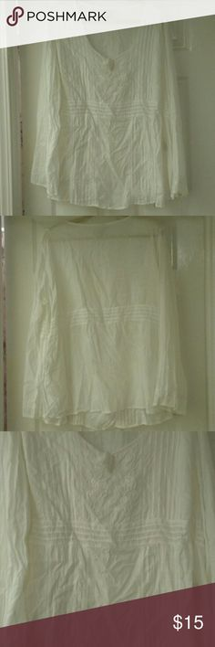 Faded Glory Shirt White Cotton/Rayon Shirt with Fabric & Beading Detail on Front, worn 3 times Faded Glory Tops Blouses