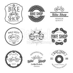 Set of vintage bicycle shop logo badges and labels royalty-free stock vector art