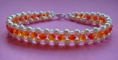 Bracelet using fire opal Swarovski crystals www.facebook.com/sosassyuk