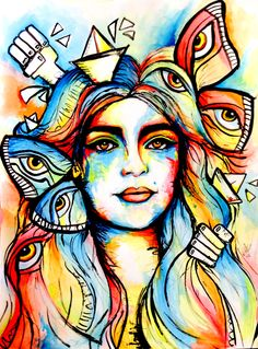Hoy todos somos multicolores by Sofia Castellanos ©  #art #artist #watercolour #princess #drawing #colors #lady #illustration #magic #boats #butterflies #eyes #rainbow #mystery