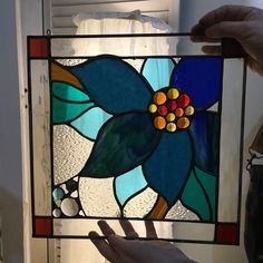 Stained glass blue flower window panel by Elena