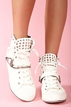 Alexander Spiked Sneaker - White in Shoes at Nasty Gal - via http://bit.ly/epinner