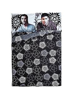 """Microfiber full sheet set from Supernatural with sheets featuring an allover icons print design and pillowcases featuring the Winchester brothers, Sam & Dean.<br><br>Includes: 1 flat sheet (81"""" x 96""""), 1 fitted sheet (54"""" x 74"""") and 2 standard pillowcases (20"""" x 30"""").<br><ul><li style=""""list-style-position: inside !important; list-style-type: disc !important"""">100% polyester</li><li style=""""list-style-position: inside !important; list-style-type: disc !important"""">Wash cold; air dry</li><li ..."""