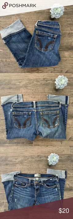 Hollister Stretch Crop jeans size 5 Destroyed look, cuff bottom. Comes from a pet free, smoke free home. Hollister Jeans Ankle & Cropped