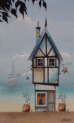He loved to watch his ship from the living room. Gary Walton watercolour 'The Starfish' illustrazioni House Illustration, Naive Art, Whimsical Art, Painting Inspiration, Home Art, Painting & Drawing, Amazing Art, Art Paintings, Watercolor Paintings