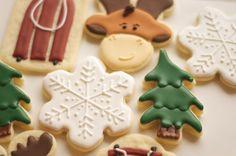 www.SoonerSugar.com, christmas cookies, snowflake cookies, Rudolph cookies, tree cookies, sled cookies, sooner sugar