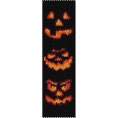 Halloween Jack O Lanterns Peyote Bead Pattern, Bracelet Pattern, Bookmark Seed Beading Pattern Delica Size 11 Beads - PDF Instant Download by SmartArtsSupply on Etsy