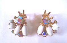 Vintage Milk Glass Rhinestone Clip Earrings by CrowsNestJewels