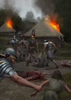 Romans destroying a village, by Milek Jakubiec. It was often necessary to remind neighbors why they should fear Rome. Ancient Rome, Ancient Greece, Ancient History, Military Art, Military History, Imperial Legion, Rome Antique, Roman Warriors, Roman Legion