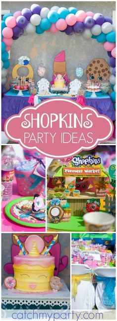 Here's a cute Shopkins party with lots of fun ideas! See more party ideas at CatchMyParty.com!