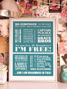 I'M FREE  A2 Are You Being Served Typographic Print by typaprint, $45.00