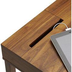 Myrene's desk grommet option - leather trim storage desk in office furniture Office Table Design, Workspace Design, Home Office Design, Home Office Decor, Home Decor Bedroom, Office Desk, Desk Redo, Diy Desk, Desk Setup
