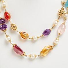 Seaman Schepps Jewelry Seaman Schepps Multi Stone Double Necklace ($25,000) found on Polyvore