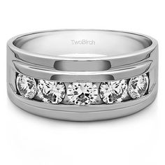 14k Gold Men's Wedding Fashion Ring with Cubic Zirconia (0.24 Cts.) (14k White Gold, Size 5)