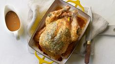 Roast chicken with perfect gravy recipe - BBC Food Roast Chicken Dinner, Roast Chicken Recipes, Perfect Gravy Recipe, Roasting Tins, One Pot Chicken, Sunday Roast, Smoked Bacon, Stuffed Whole Chicken, Cooking Time