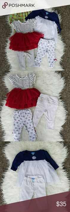 Lot of 6-12 Month Girl Pants Dresses Lot of 6-12 Month Girl Clothes. 3 pants, 2 dresses, 1 shirt. Green Gap polka dot shirt is lightly pilled but still darling. No other known defects.   See my page for more!  Pet/smoke free home. Dresses