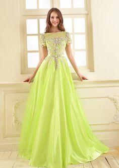 Dresswe.comサプライ品繊細な豪華なビーズのアップリケラインの半袖イブニング/ウェディングドレス イブニングドレス2014