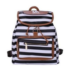 Michael Kors Jet Set Striped Large Black White Backpacks #AllAccessKors