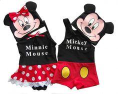 summer Cute Cartoon Mickey Minnie Swimwear New Baby Boys Girls Swimsuit Beachwear Lovely Swimming Costume Mouse Bathing Suit