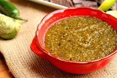Roasted tomatillo and green chili salda.  This sounds like something I would like!