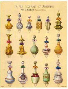 L.T. Piver : Flacons haute fantaisie vers 1867 - Lithographie colorée