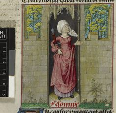 Description: Detail of a miniature of the allegorical figure of Feloniye (Crime), in the first column of the folio. Origin: Netherlands, S. Medieval Life, Medieval Fashion, Medieval Clothing, Illuminated Letters, Illuminated Manuscript, 15th Century Clothing, Courtly Love, Roman, Renaissance Artists