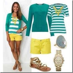 Teel cardigan, white and teal striped shirt, yellow shorts